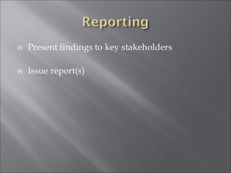  Present findings to key stakeholders  Issue report(s)