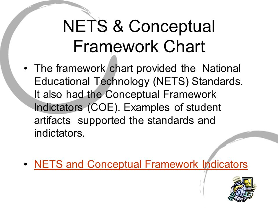 NETS & Conceptual Framework Chart The framework chart provided the National Educational Technology (NETS) Standards.