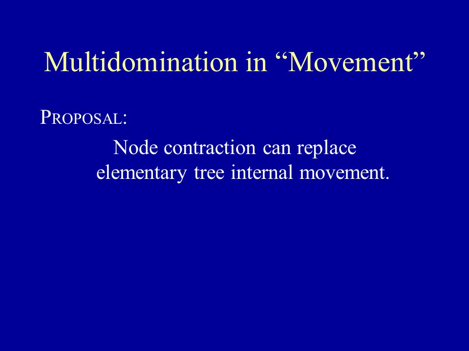 Multidomination in Movement P ROPOSAL : Node contraction can replace elementary tree internal movement.