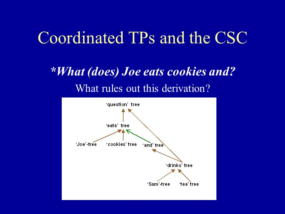 Coordinated TPs and the CSC *What (does) Joe eats cookies and What rules out this derivation