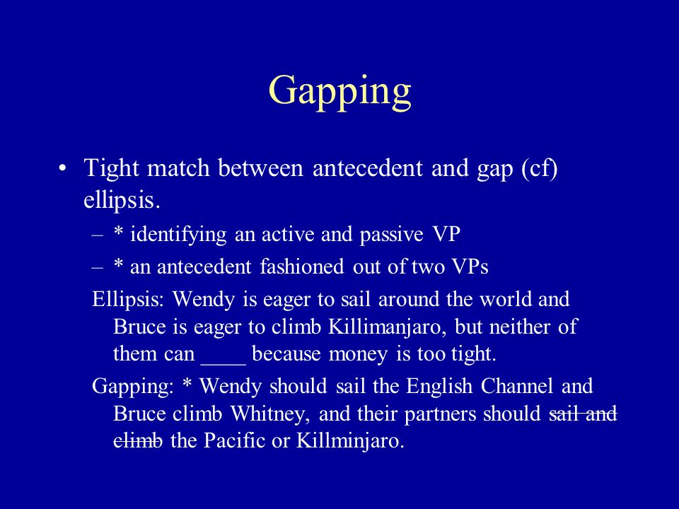 Gapping Tight match between antecedent and gap (cf) ellipsis.
