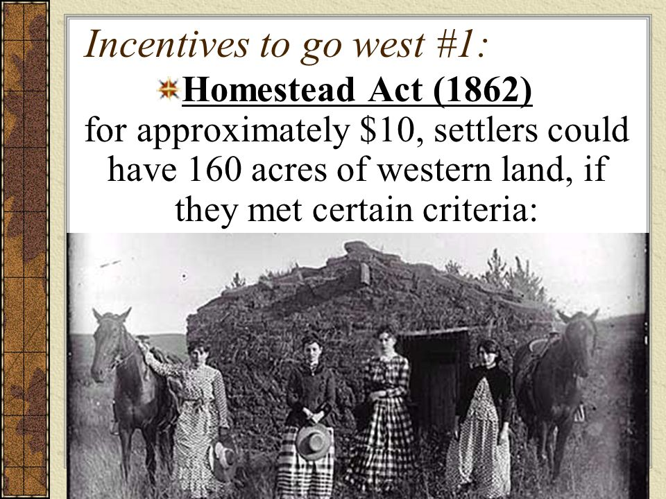 Incentives to go west #1: Homestead Act (1862) for approximately $10, settlers could have 160 acres of western land, if they met certain criteria: