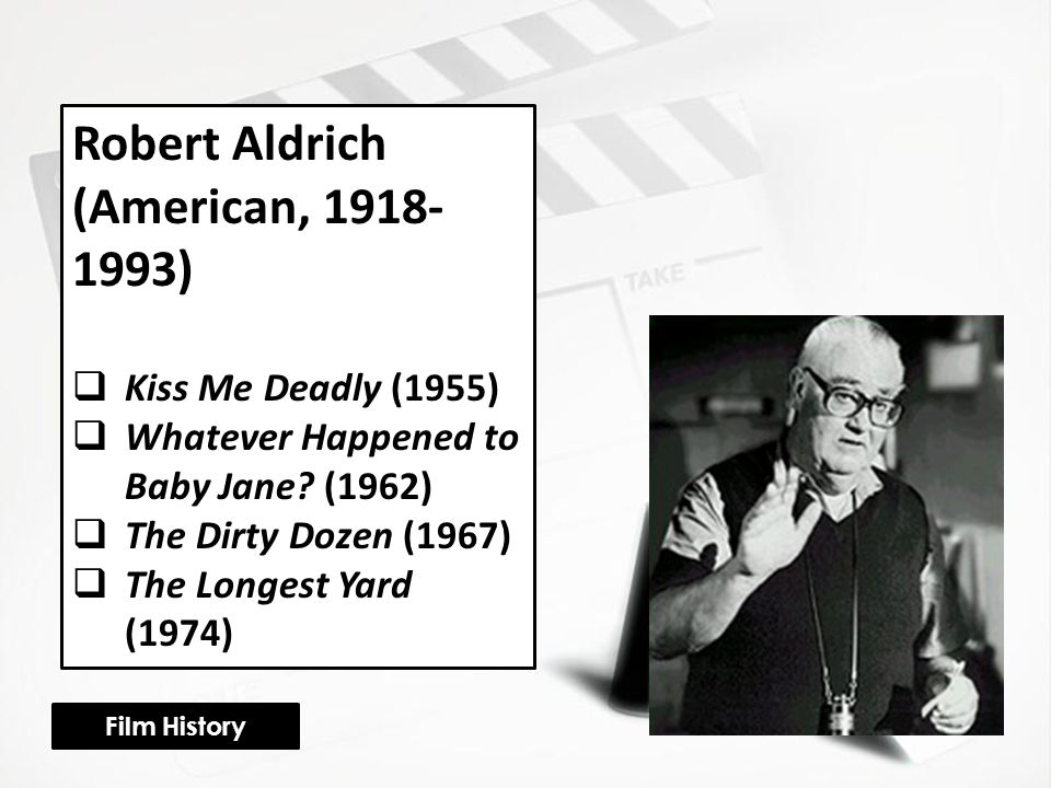 Robert Aldrich (American, 1918- 1993)  Kiss Me Deadly (1955)  Whatever Happened to Baby Jane.