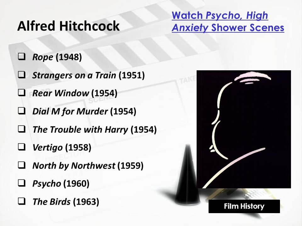 Alfred Hitchcock  Rope (1948)  Strangers on a Train (1951)  Rear Window (1954)  Dial M for Murder (1954)  The Trouble with Harry (1954)  Vertigo (1958)  North by Northwest (1959)  Psycho (1960)  The Birds (1963) Film History Watch Psycho, High Anxiety Shower Scenes