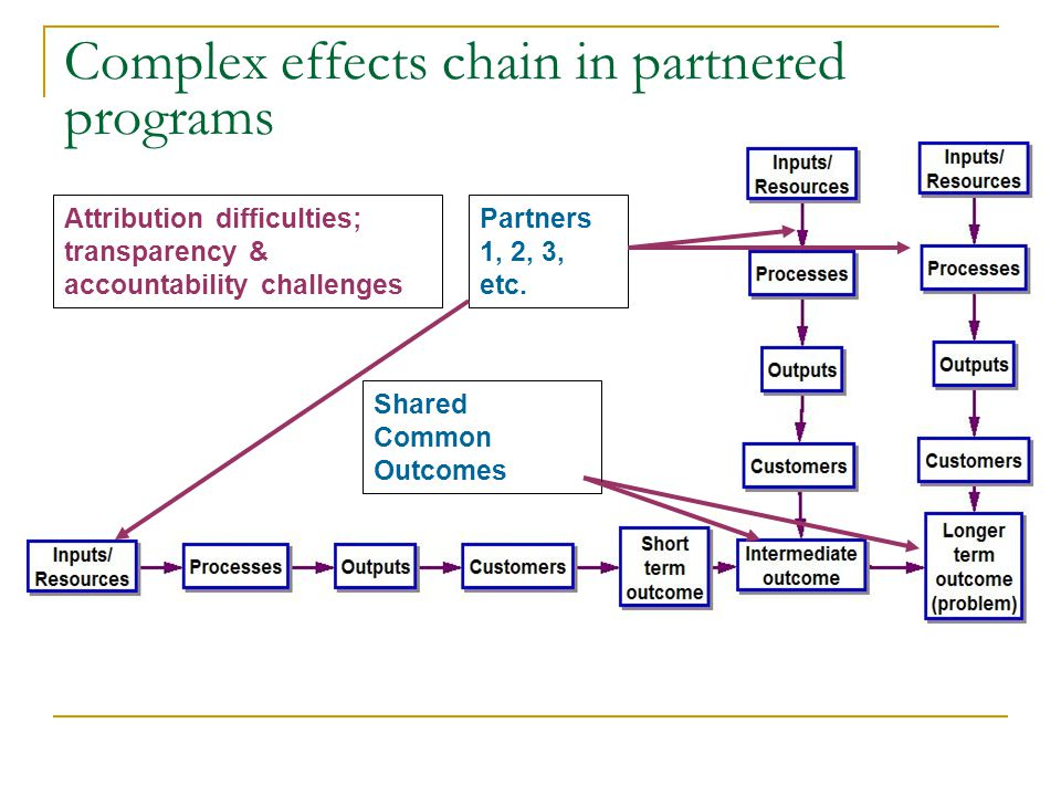 Complex effects chain in partnered programs Partners 1, 2, 3, etc.