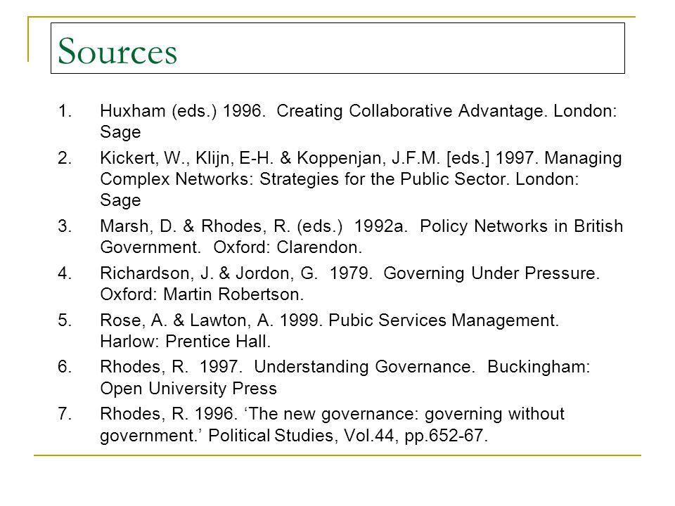 Sources 1.Huxham (eds.) 1996. Creating Collaborative Advantage.