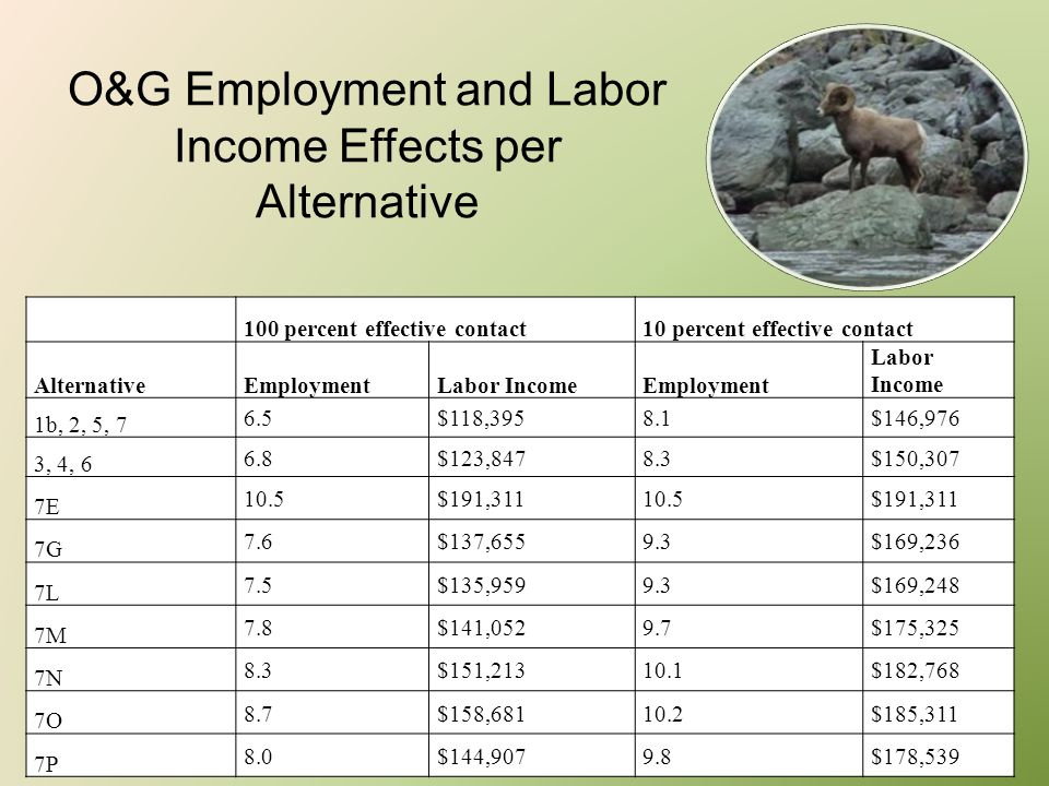 O&G Employment and Labor Income Effects per Alternative 100 percent effective contact10 percent effective contact AlternativeEmploymentLabor IncomeEmp