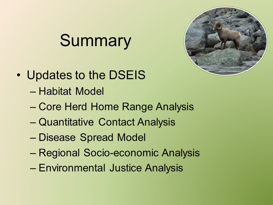 Summary Updates to the DSEIS –Habitat Model –Core Herd Home Range Analysis –Quantitative Contact Analysis –Disease Spread Model –Regional Socio-econom