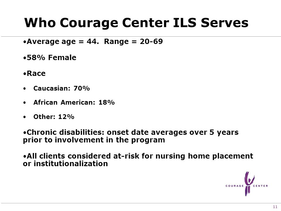 11 Who Courage Center ILS Serves Average age = 44.