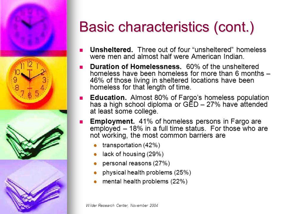 Basic characteristics (cont.) Unsheltered.