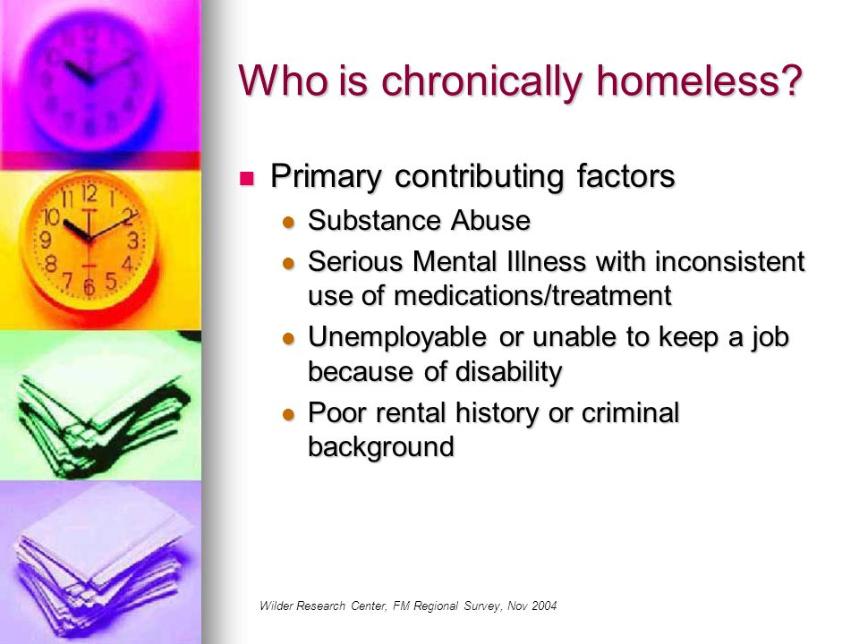 Who is chronically homeless.