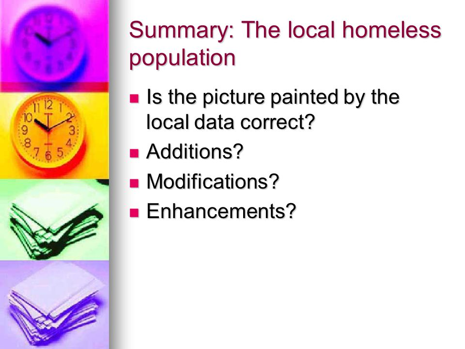Summary: The local homeless population Is the picture painted by the local data correct.