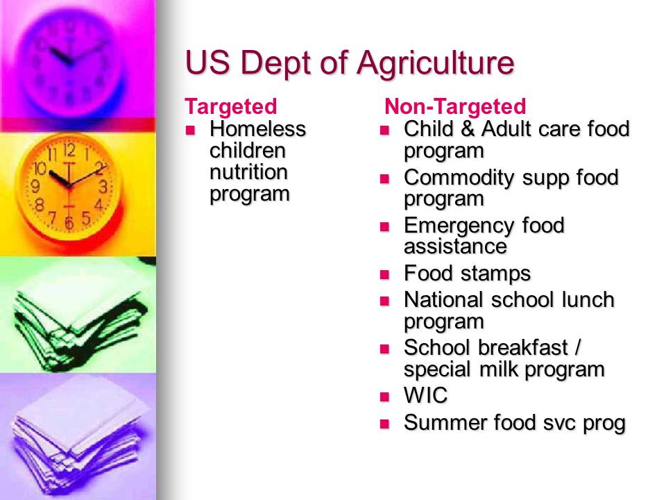 US Dept of Agriculture Homeless children nutrition program Homeless children nutrition program Child & Adult care food program Child & Adult care food program Commodity supp food program Commodity supp food program Emergency food assistance Emergency food assistance Food stamps Food stamps National school lunch program National school lunch program School breakfast / special milk program School breakfast / special milk program WIC WIC Summer food svc prog Summer food svc prog TargetedNon-Targeted