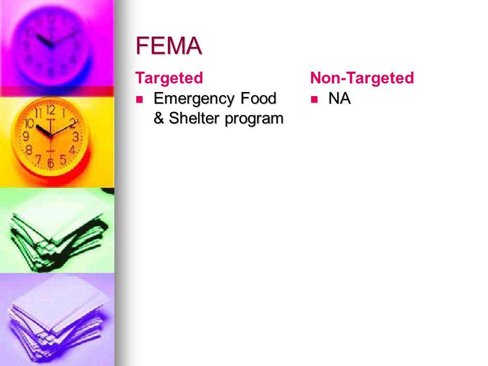 FEMA Emergency Food & Shelter program Emergency Food & Shelter program NA NA TargetedNon-Targeted