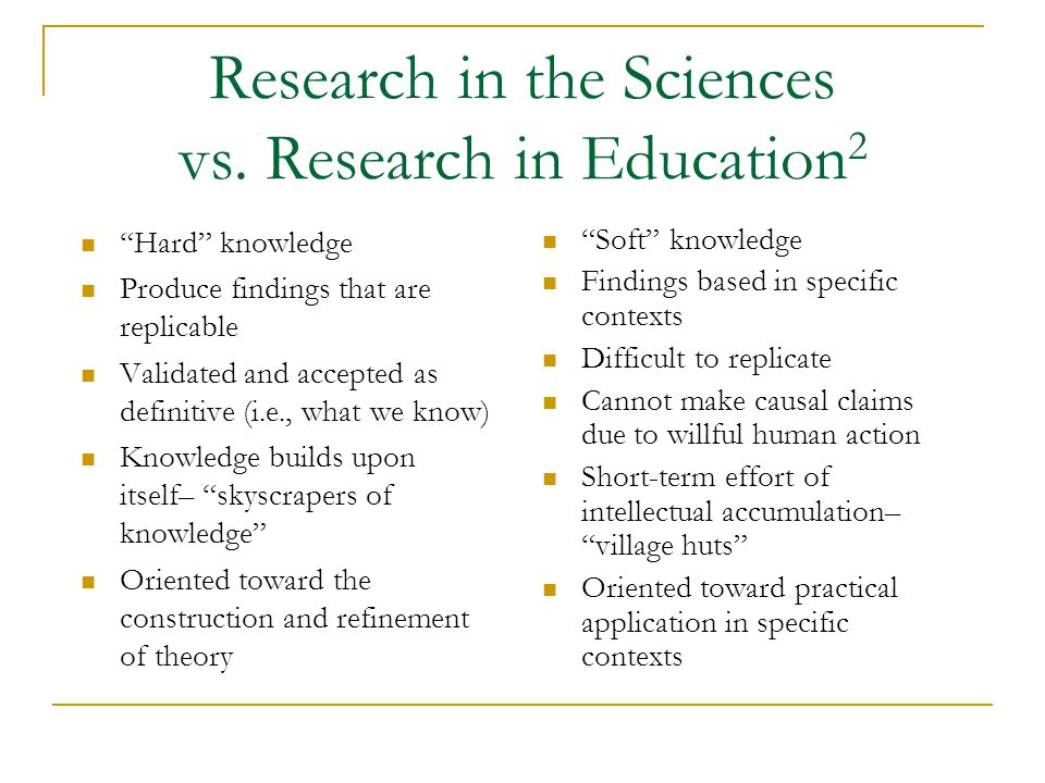 Research in the Sciences vs.