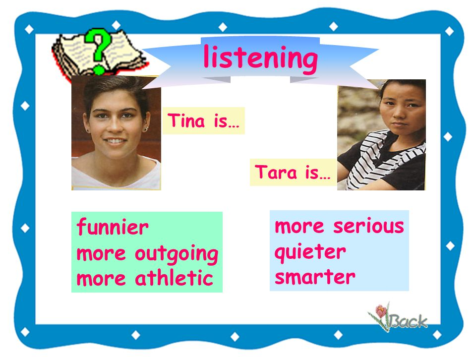 Listening Complete the chart with the words used with -er/-est or more .(P 32 ) -er/iermore funnyoutgoing smart quiet athletic serious