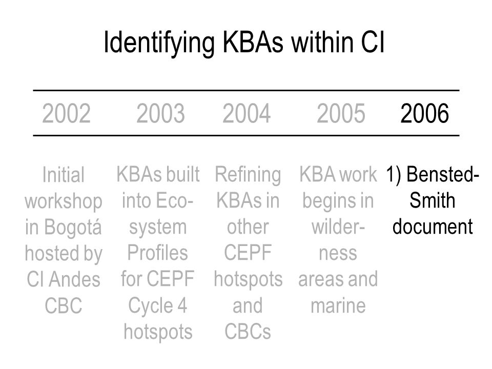 Identifying KBAs within CI 2002 Initial workshop in Bogotá hosted by CI Andes CBC 2003200420052006 KBAs built into Eco- system Profiles for CEPF Cycle 4 hotspots Refining KBAs in other CEPF hotspots and CBCs KBA work begins in wilder- ness areas and marine 1) Bensted- Smith document