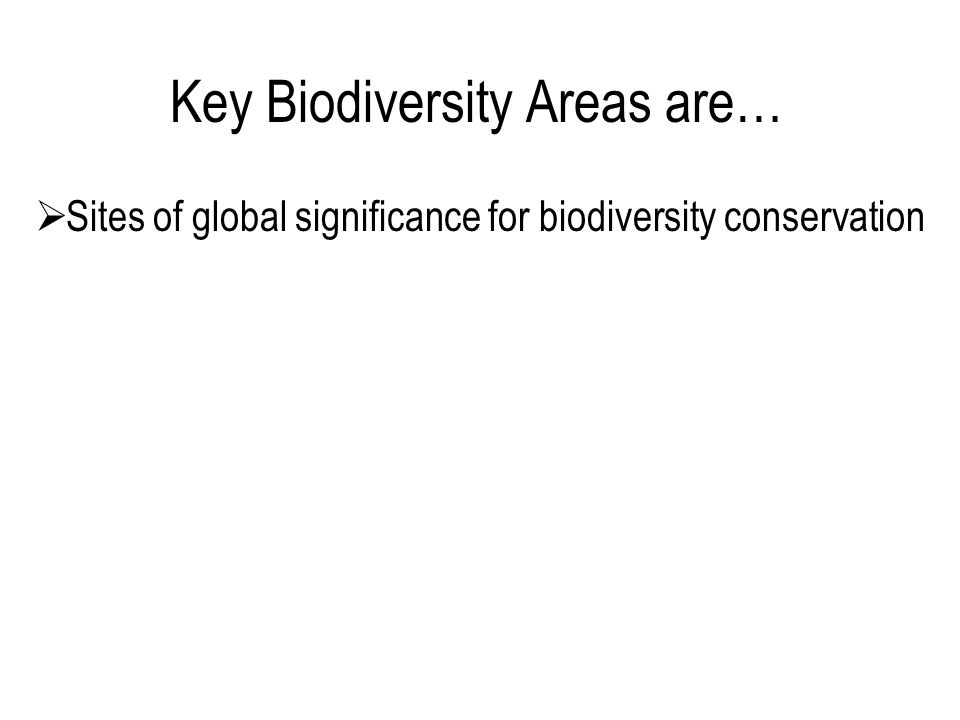  Sites of global significance for biodiversity conservation