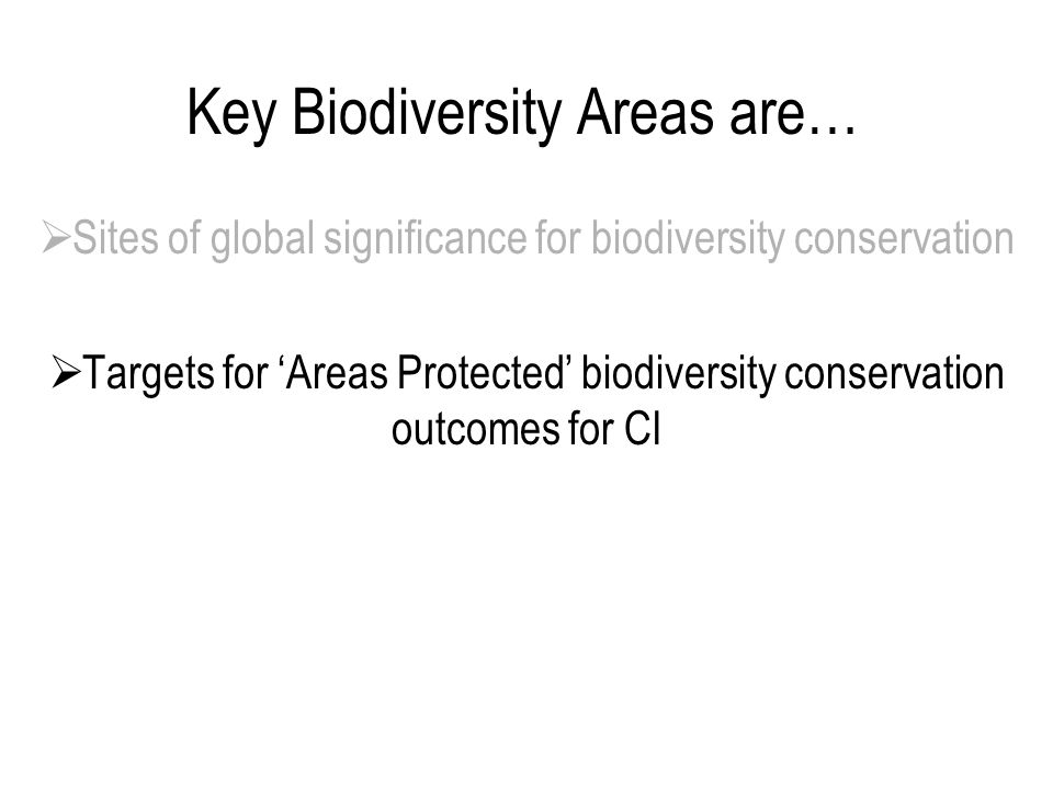 Key Biodiversity Areas are…  Sites of global significance for biodiversity conservation  Targets for 'Areas Protected' biodiversity conservation outcomes for CI