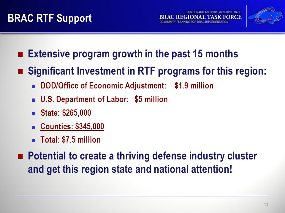 BRAC RTF Support Extensive program growth in the past 15 months Significant Investment in RTF programs for this region: DOD/Office of Economic Adjustment: $1.9 million U.S.