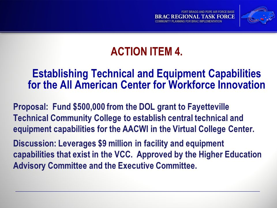 ACTION ITEM 4. Establishing Technical and Equipment Capabilities for the All American Center for Workforce Innovation Proposal: Fund $500,000 from the