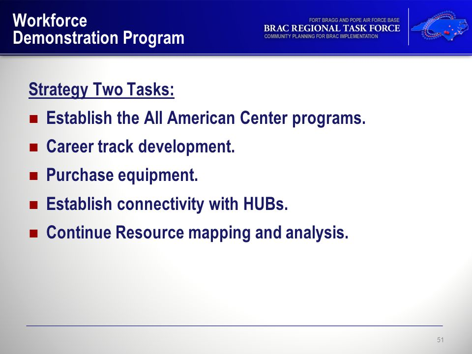 Workforce Demonstration Program Strategy Two Tasks: Establish the All American Center programs.