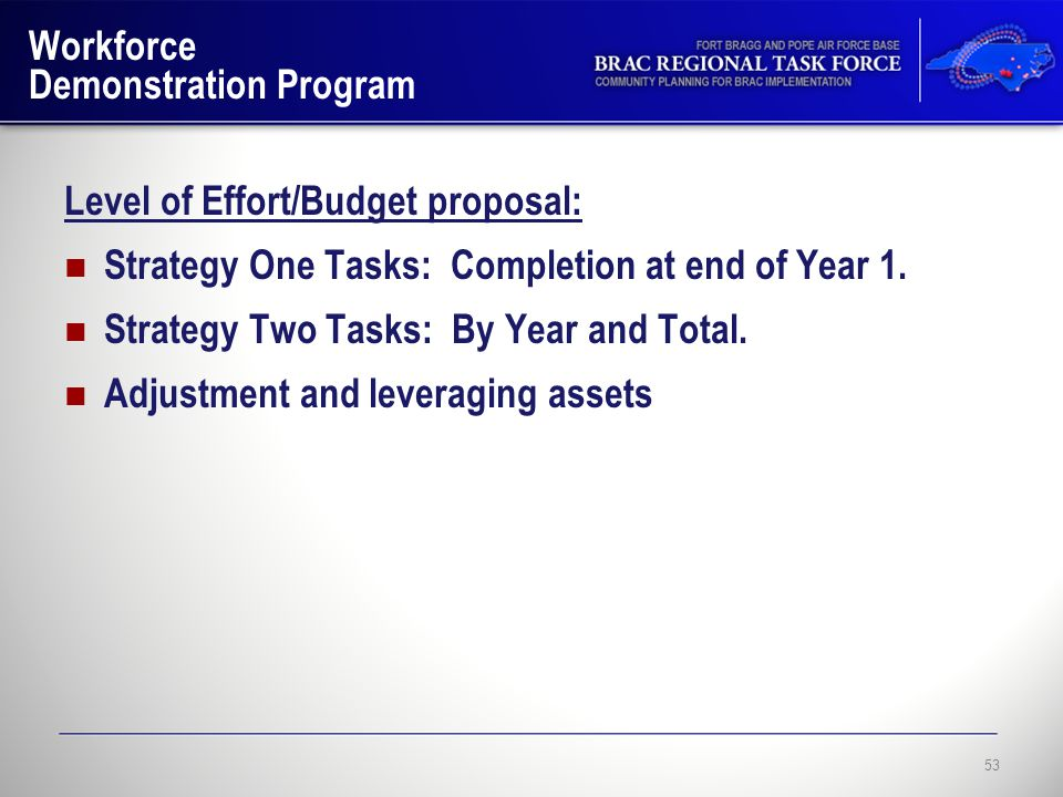 Workforce Demonstration Program Level of Effort/Budget proposal: Strategy One Tasks: Completion at end of Year 1.