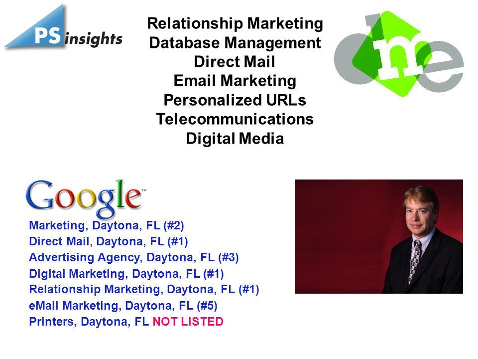 Relationship Marketing Database Management Direct Mail Email Marketing Personalized URLs Telecommunications Digital Media Advertising Agency, Daytona, FL (#3) Direct Mail, Daytona, FL (#1) Digital Marketing, Daytona, FL (#1) eMail Marketing, Daytona, FL (#5) Relationship Marketing, Daytona, FL (#1) Marketing, Daytona, FL (#2) Printers, Daytona, FL NOT LISTED
