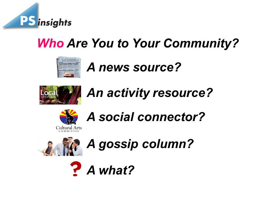 Who Are You to Your Community. A news source. An activity resource.