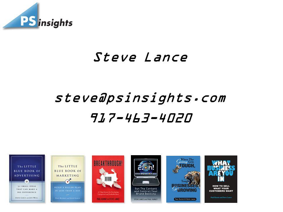 Steve Lance steve@psinsights.com 917-463-4020