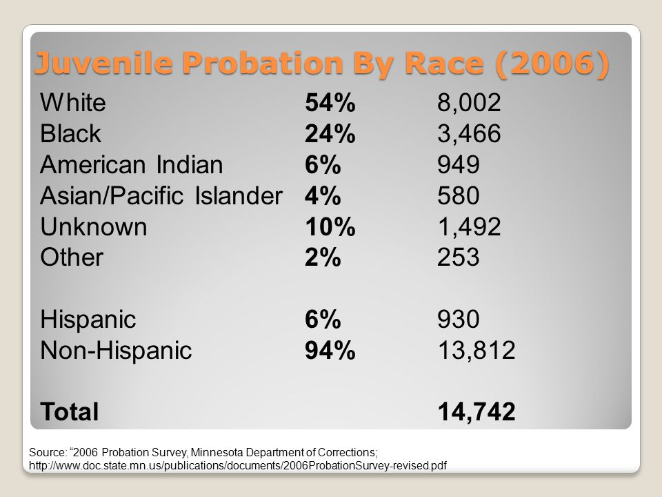 Juvenile Probation By Race (2006) White54%8,002 Black24% 3,466 American Indian6% 949 Asian/Pacific Islander4%580 Unknown10%1,492 Other 2%253 Hispanic6%930 Non-Hispanic94%13,812 Total14,742 Source: 2006 Probation Survey, Minnesota Department of Corrections; http://www.doc.state.mn.us/publications/documents/2006ProbationSurvey-revised.pdf