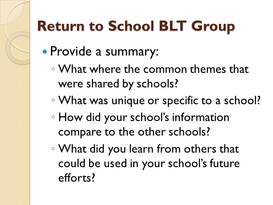 Return to School BLT Group Provide a summary: ◦ What where the common themes that were shared by schools.