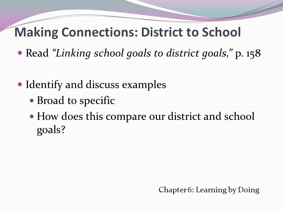 Making Connections: District to School Read Linking school goals to district goals, p.