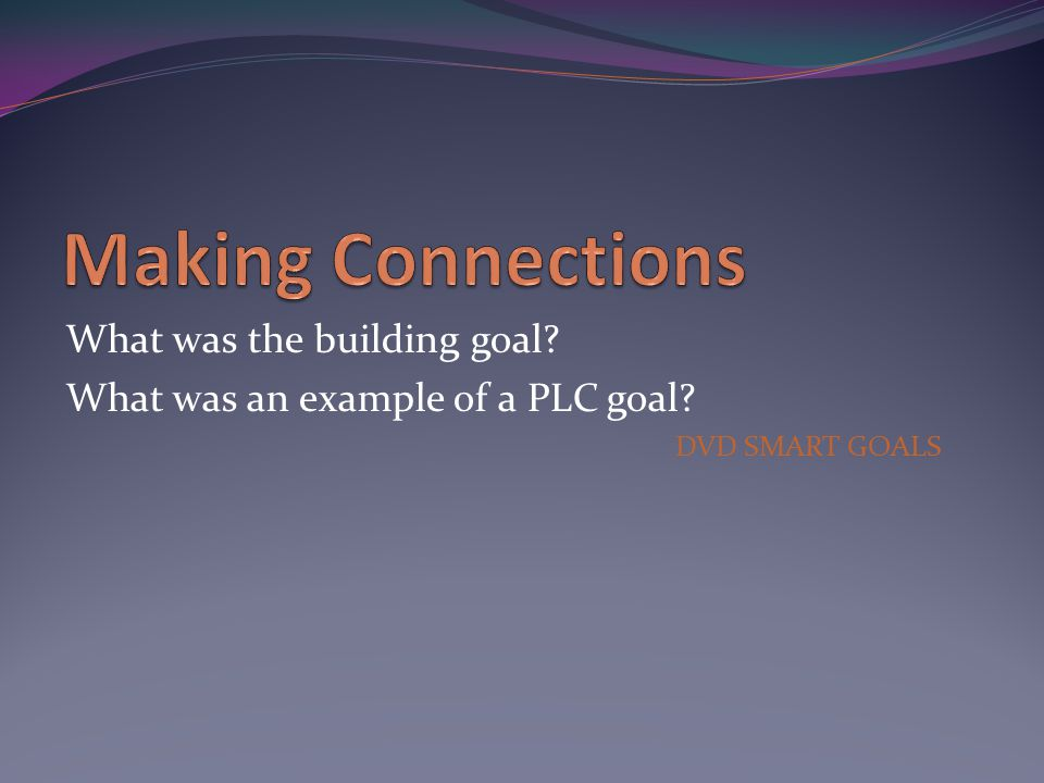 What was the building goal What was an example of a PLC goal DVD SMART GOALS