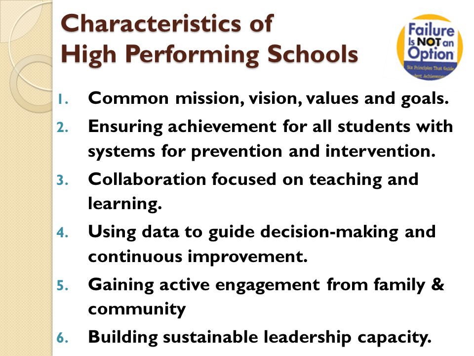 Characteristics of High Performing Schools 1. Common mission, vision, values and goals.