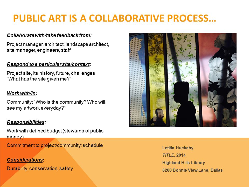 THE CONCEPT DESIGN The Artist Selection Panel and Community Feedback provided by Public art Staff will be provided to the artist.