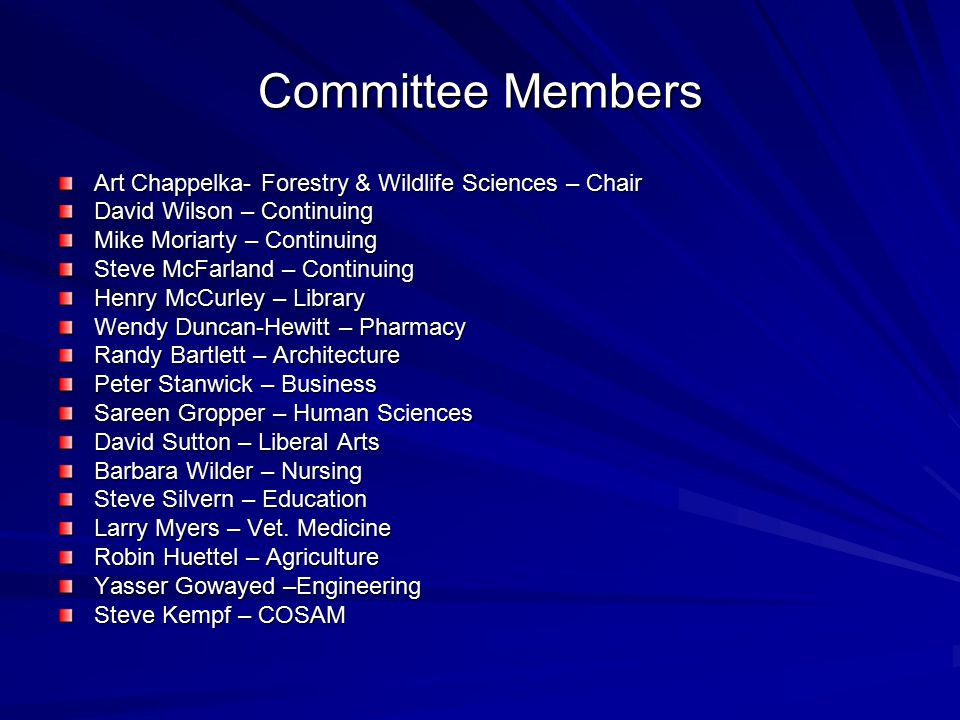 Committee Members Art Chappelka- Forestry & Wildlife Sciences – Chair David Wilson – Continuing Mike Moriarty – Continuing Steve McFarland – Continuing Henry McCurley – Library Wendy Duncan-Hewitt – Pharmacy Randy Bartlett – Architecture Peter Stanwick – Business Sareen Gropper – Human Sciences David Sutton – Liberal Arts Barbara Wilder – Nursing Steve Silvern – Education Larry Myers – Vet.