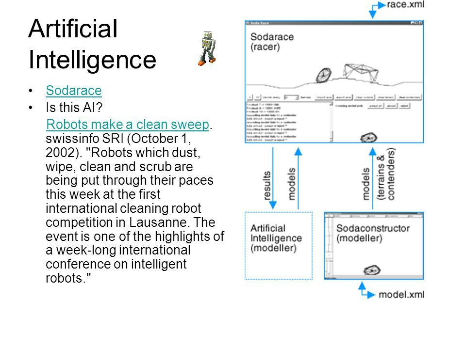 ArtificiaI Intelligence Sodarace Is this AI? Robots make a clean sweep. swissinfo SRI (October 1, 2002).