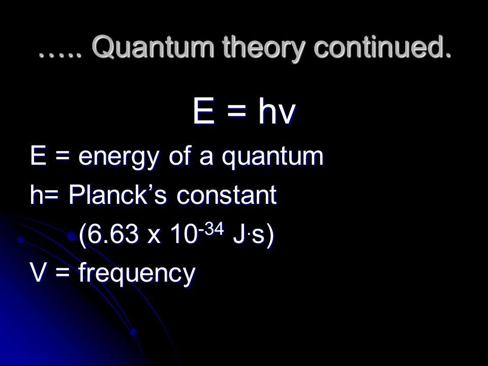 ….. Quantum theory continued. E = hν E = energy of a quantum h= Planck's constant (6.63 x 10 -34 J. s) V = frequency