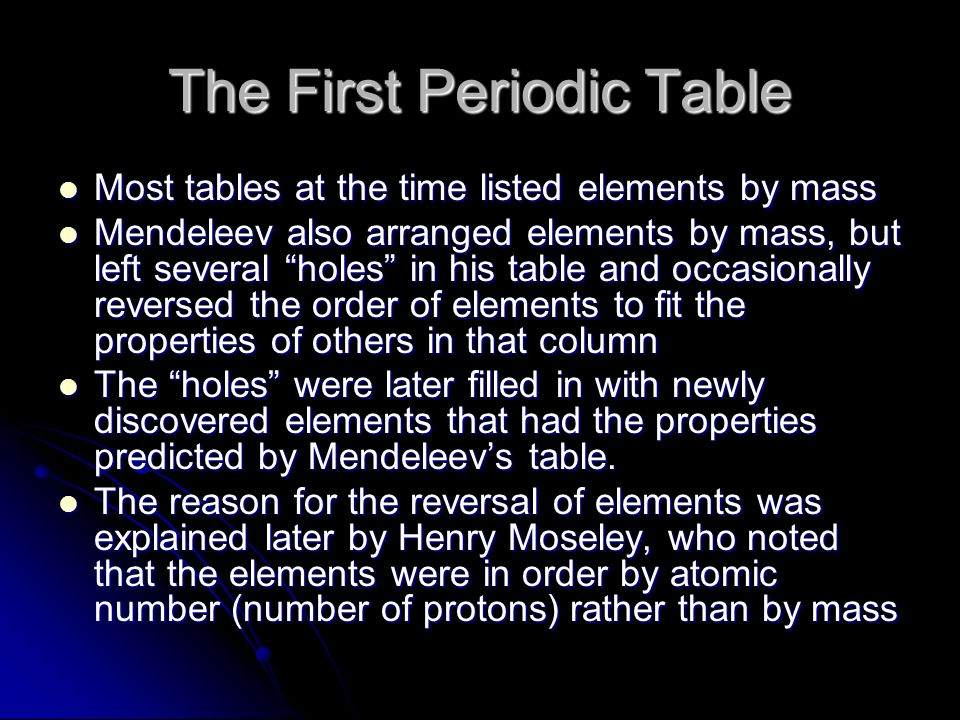 The First Periodic Table Most tables at the time listed elements by mass Most tables at the time listed elements by mass Mendeleev also arranged eleme