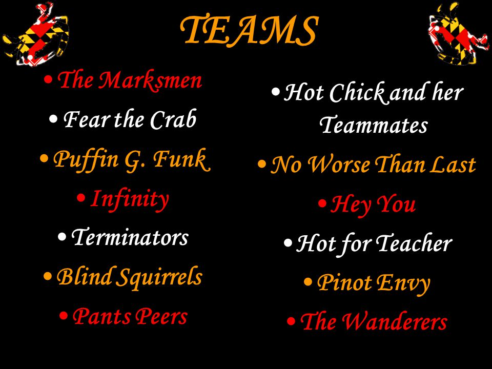 TEAMS The Marksmen Fear the Crab Puffin G. Funk Infinity Terminators Blind Squirrels Pants Peers Hot Chick and her Teammates No Worse Than Last Hey Yo