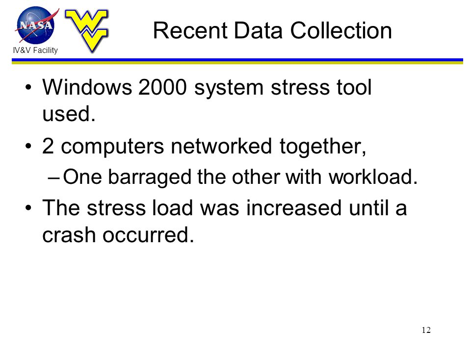 IV&V Facility 12 Recent Data Collection Windows 2000 system stress tool used.