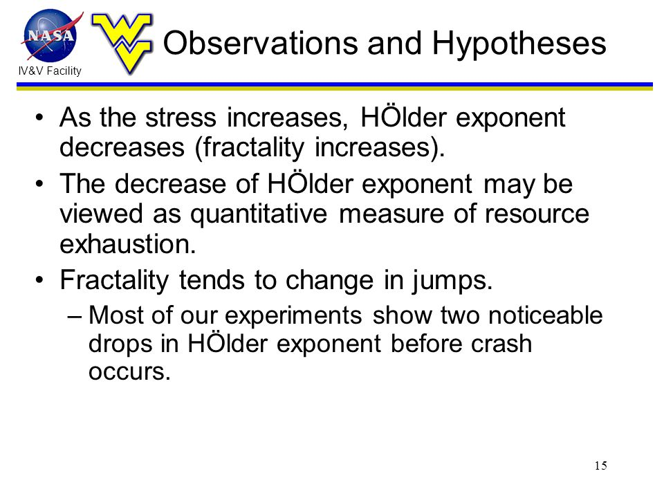 IV&V Facility 15 Observations and Hypotheses As the stress increases, HÖlder exponent decreases (fractality increases).