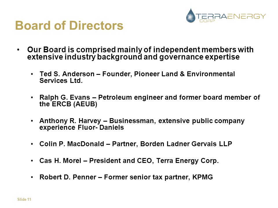 Slide 11 Board of Directors Our Board is comprised mainly of independent members with extensive industry background and governance expertise Ted S.