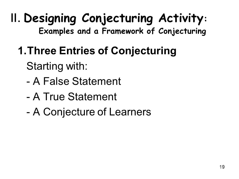 20 1-1 False statement as starting point ex.(1) Using students' misconception e.g.
