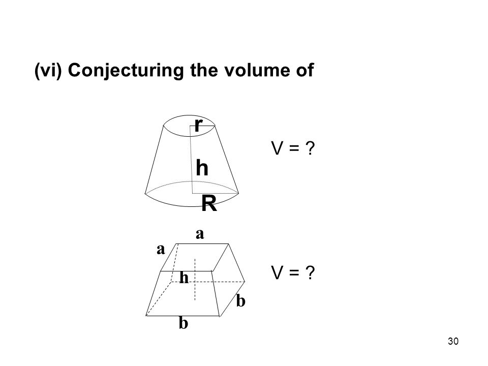 30 (vi) Conjecturing the volume of V = h R r h b b a a