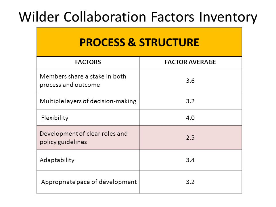 Wilder Collaboration Factors Inventory PROCESS & STRUCTURE FACTORSFACTOR AVERAGE Members share a stake in both process and outcome 3.6 Multiple layers of decision-making3.2 Flexibility4.0 Development of clear roles and policy guidelines 2.5 Adaptability3.4 Appropriate pace of development3.2