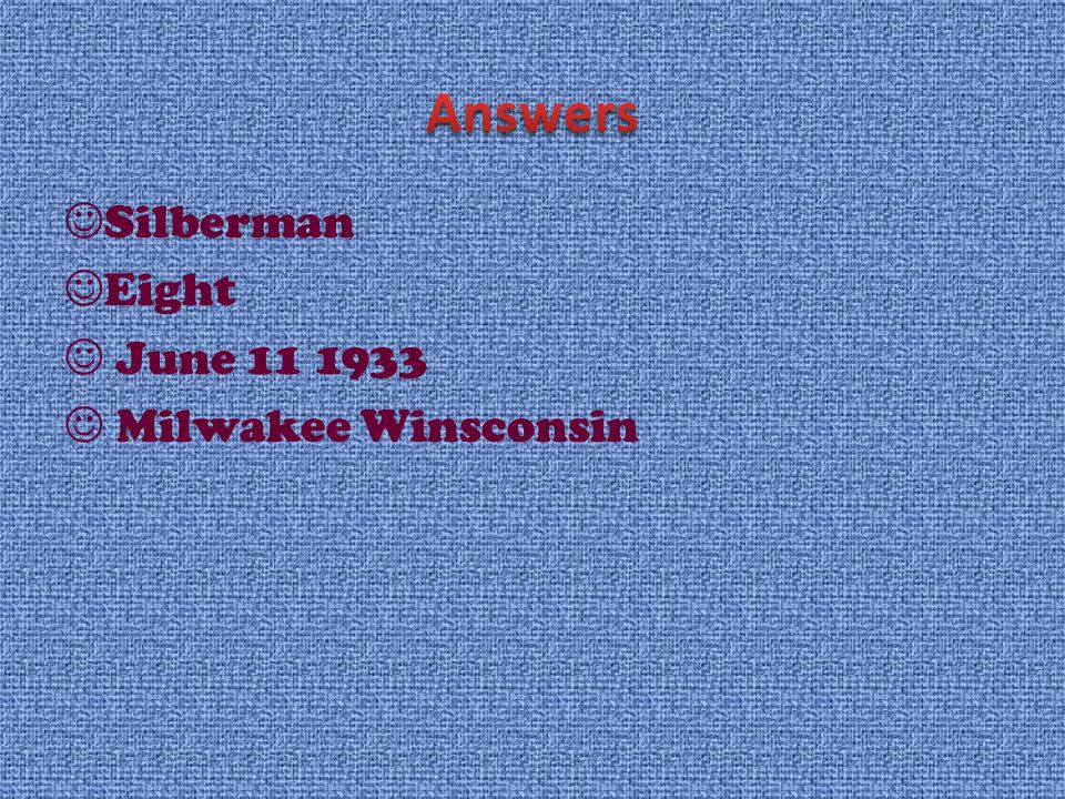 Silberman Eight June 11 1933 Milwakee Winsconsin