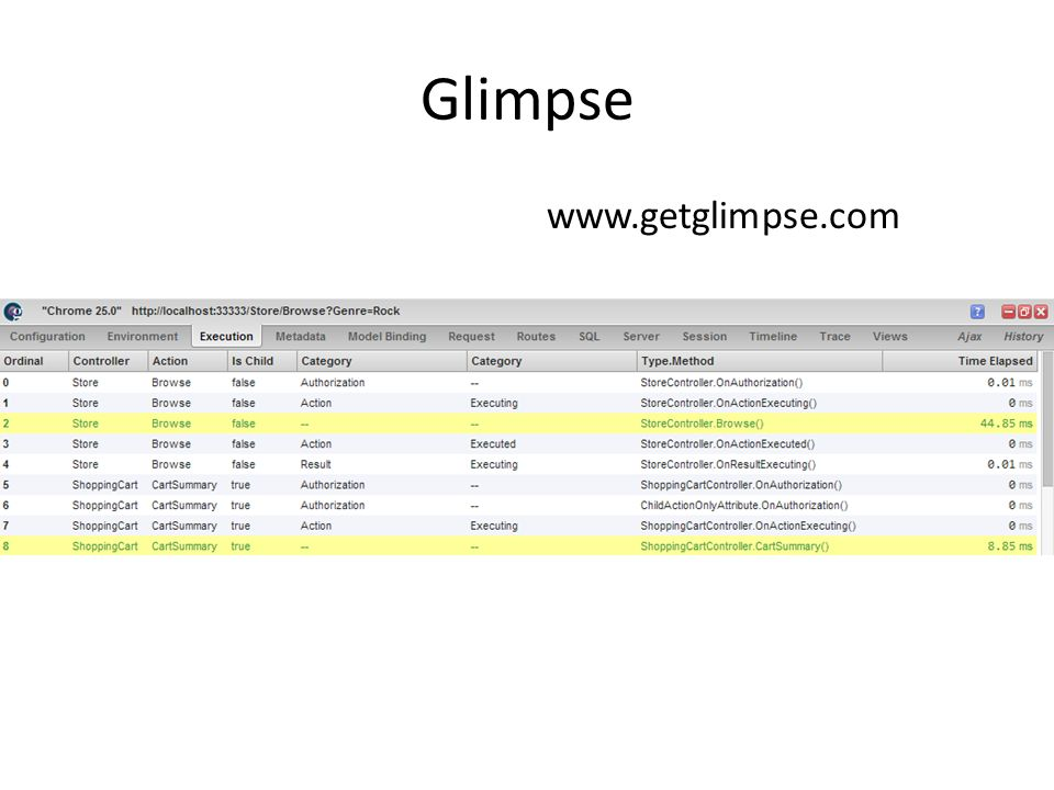 Glimpse www.getglimpse.com