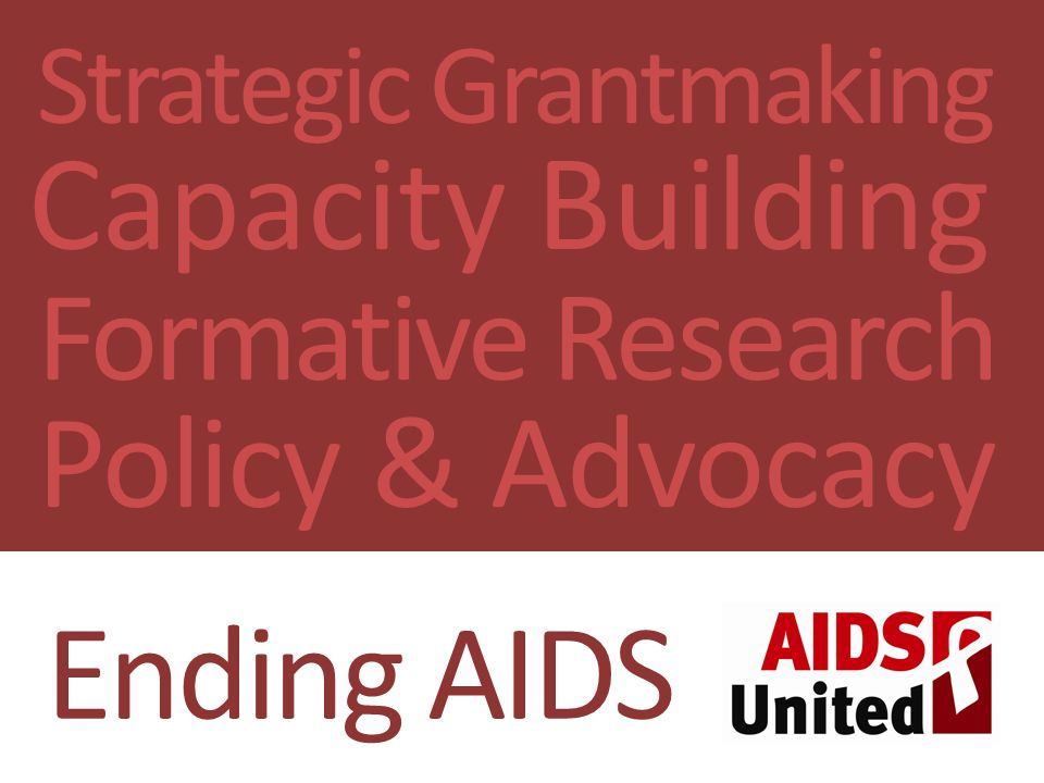 AU: Ending AIDS Strategic Grantmaking Capacity Building Formative Research Policy & Advocacy Ending AIDS